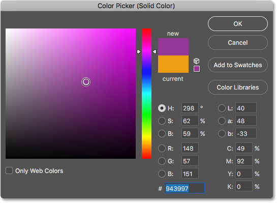 Choosing a new color from the Color Picker. Image © 2017 Photoshop Essentials.com