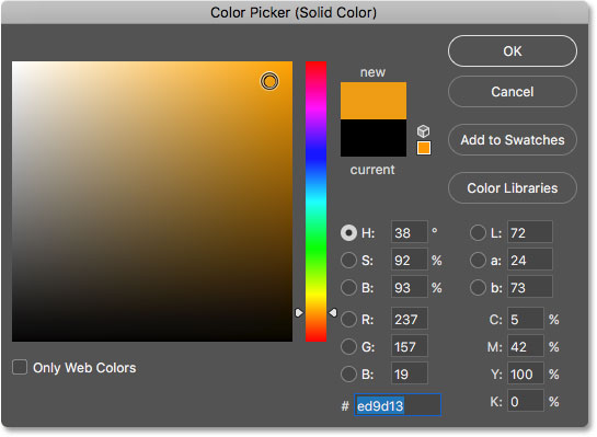 Choosing a color from the Color Picker. Image © 2017 Photoshop Essentials.com