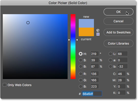 The sampled color appears in the Color Picker. Image © 2017 Photoshop Essentials.com
