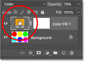 Double-clicking on the color swatch for the fill layer. Image © 2017 Photoshop Essentials.com