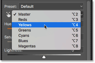 Changing the Hue/Saturation Edit option from Master to Yellow