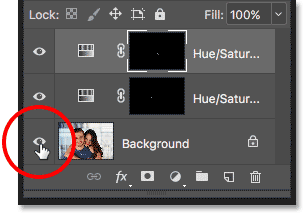 Clicking the Background layer's visibility icon while holding the Alt / Option key.