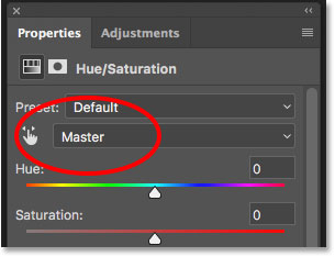 The Edit option for the Hue/Saturation adjustment layer is set to Master
