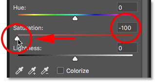 Dragging the Saturation slider for the Hue/Saturation adjustment layer
