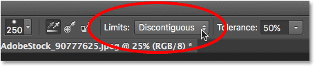 Setting the Background Eraser Limits option to Discontiguous in Photoshop.