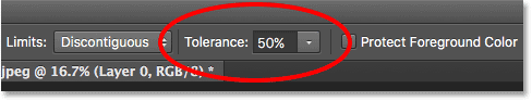 The Tolerance option for the Background Eraser in Photoshop.