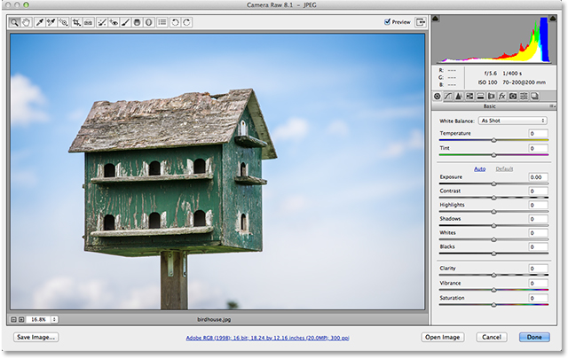 A JPEG file open in Adobe Camera Raw 8. Image © 2013 Steve Patterson, Photoshop Essentials.com