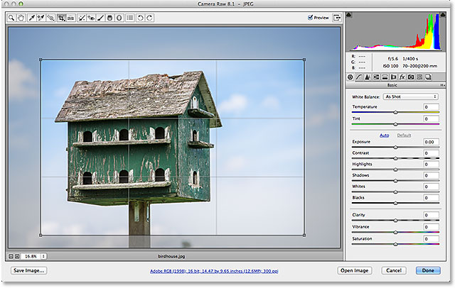 The crop box and cropped image area reappear in Camera Raw. Image © 2013 Steve Patterson, Photoshop Essentials.com