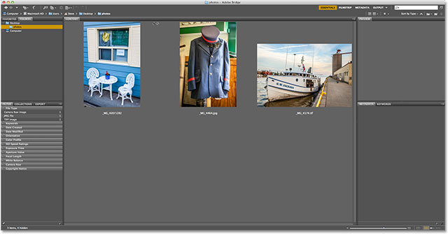 Three images visible in Adobe Bridge CS6. Image © 2013 Steve Patterson, Photoshop Essentials.com