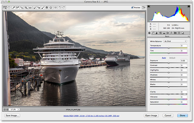 A JPEG image open in Adobe Camera Raw 8.