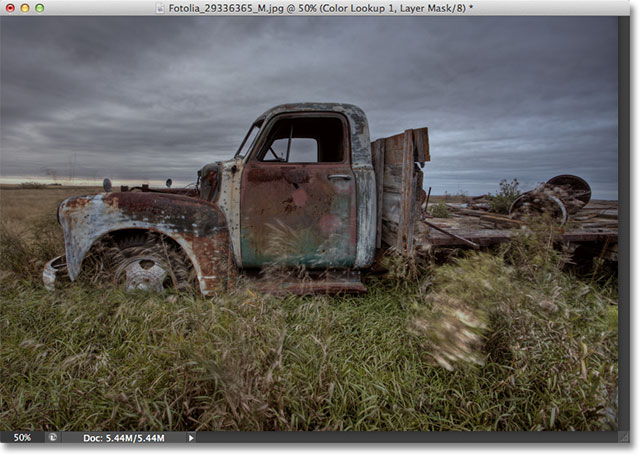 The photo with layer opacity set to 50%. Image © 2012 Photoshop Essentials.com