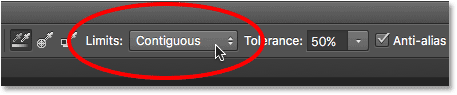 The three Limits options for the Color Replacement Tool. Image © 2016 Photoshop Essentials.com
