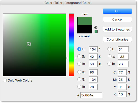 Photoshop Color Picker. Image © 2016 Photoshop Essentials.com