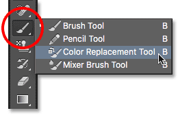 The Color Replacement Tool in Photoshop. Image © 2016 Photoshop Essentials.com