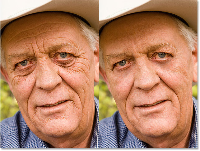 A side by comparison of the original image and the same image with the wrinkles removed. Image © 2016 Photoshop Essentials.com