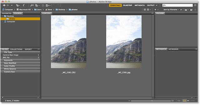 A raw and JPEG version of the same photo in Adobe Bridge. Image © 2013 Photoshop Essentials.com