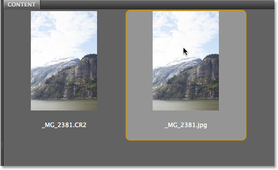 Selecting the JPEG photo in Bridge. Image © 2013 Photoshop Essentials.com
