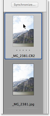 A comparison of the histograms for the raw and JPEG versions of the image. Image © 2013 Photoshop Essentials.com