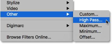 Choosing the High Pass filter from under the Filter menu.