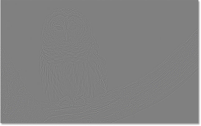 The High Pass filter effect using a Radius value of 3 pixels. Image © 2016 Photoshop Essentials.com