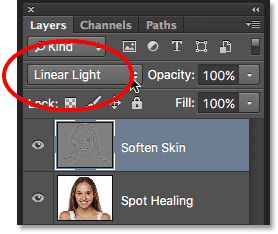 Changing the blend mode of the Soften Skin layer to Linear Light.
