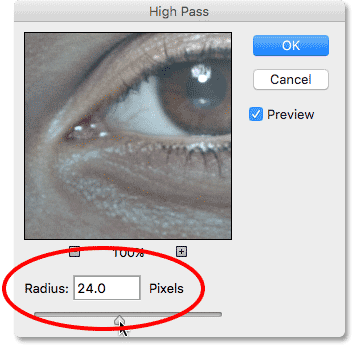 Setting the Radius value for the High Pass filter to 24 pixels.