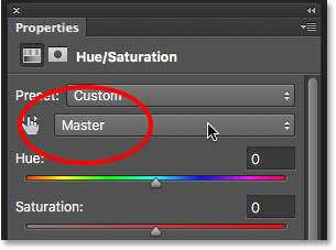 Setting the Edit option back to Master for Hue/Saturation.