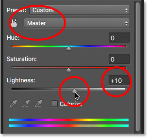 Increasing the Lightness value for the Hue/Saturation adjustment layer.