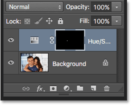 The Layers panel showing the Hue/Saturation adjustment layer.