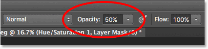 Lowering the opacity of the brush to 50%.