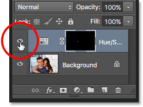 The Hue/Saturation adjustment layer's visibility icon.