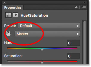 Hue/Saturation is currently set to Master.