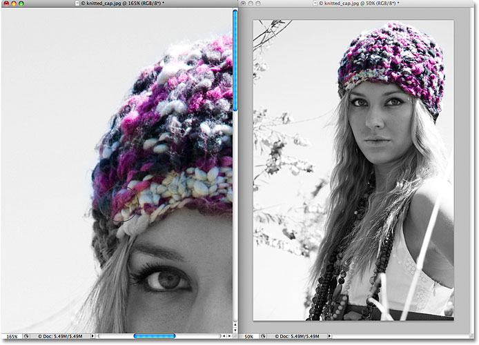 Restoring the original image color with the History Brush in Photoshop. Image © 2009 Photoshop Essentials.com