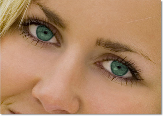 The eyes now appear green after changing their color in Photoshop. Image © 2010 Photoshop Essentials.com