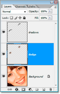 The Layers palette now showing the dodge layer above the Background layer