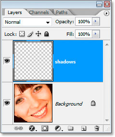 The new shadows layer in the Layers palette
