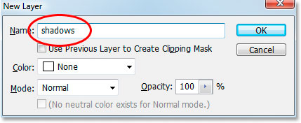 The New Layer dialog box in Photoshop