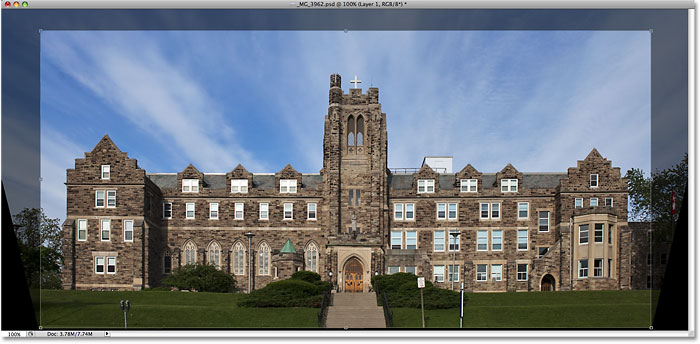 Drawing a cropping border with the Crop Tool in Photoshop. Image © 2009 Photoshop Essentials.com