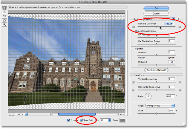 The Remove Distortion slider in the Lens Correction dialog box in Photoshop CS4. Image © 2009 Photoshop Essentials.com.