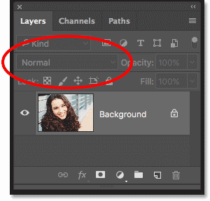 The blend mode option in the Layers panel is grayed out in Photoshop