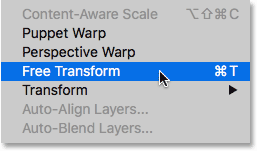 Selecting Free Transform in Photoshop CC.