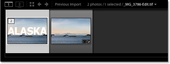 The Filmstrip in Lightroom showing the original version and the Photoshopped version.