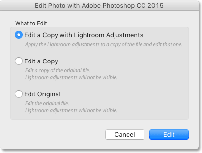 The three editing options for sending non-raw files from Lightroom to Photoshop.