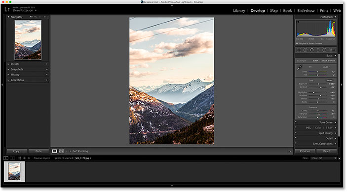 A JPEG photo open in the Develop module in Adobe Lightroom CC.