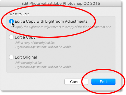 Choosing the Edit a Copy with Lightroom Adjustments option in Lightroom CC.