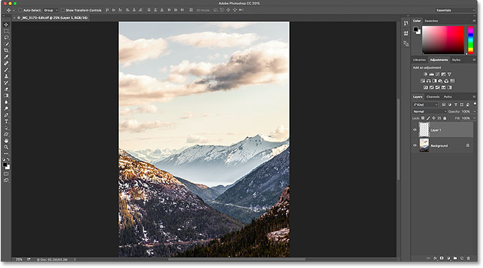 The previously-edited file is back in Photoshop.