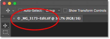The document tab in Photoshop showing the name of the file.
