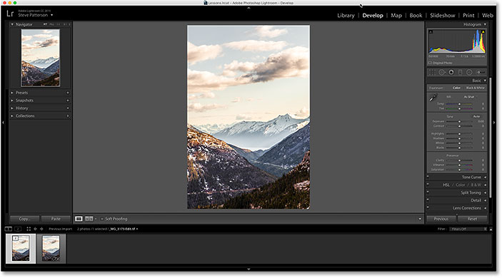 The Photoshop edits are now visible in Lightroom.