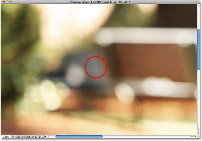 Clicking on the gray point marker in the image. Image © 2010 Photoshop Essentials.com