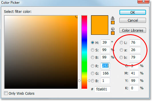 The Lab color options in Photoshop's Color Picker.